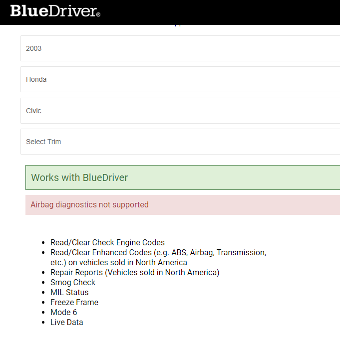 bluedriver support for honda civic
