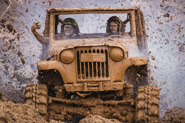 mud covered jeep