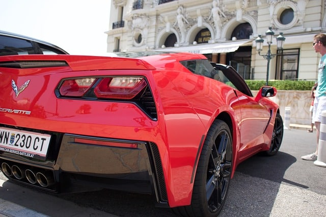 brand new red corvette
