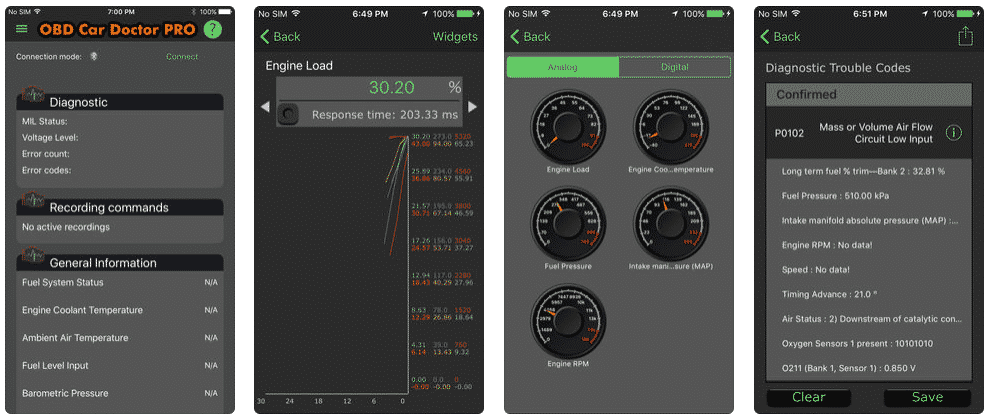 OBD Car Doctor Review in app screenshots