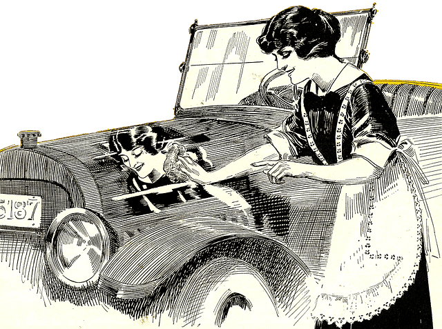 vintage lady washing old car
