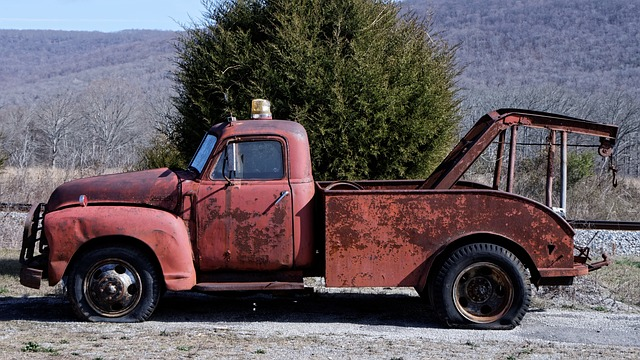 old red tow truck