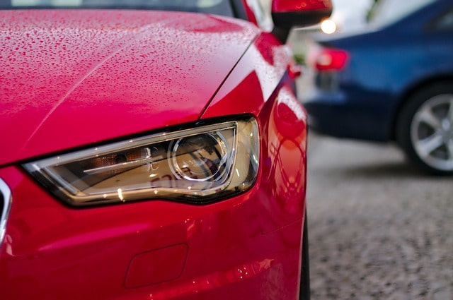 red car with clear headlight