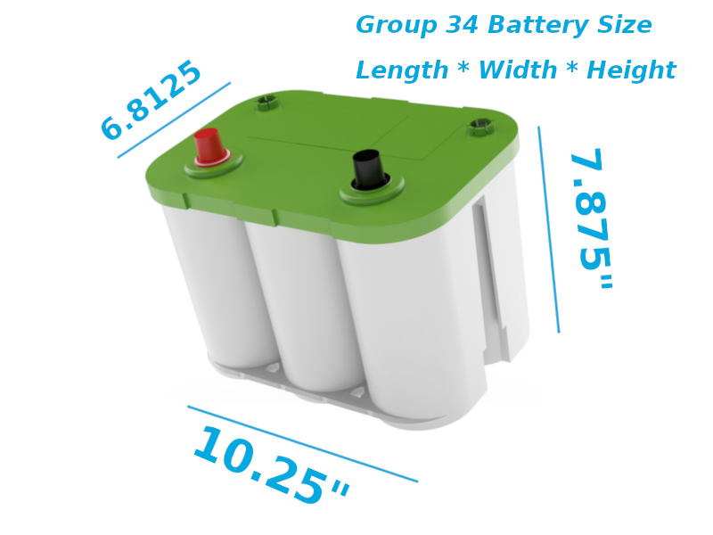 group 34 battery size diagram