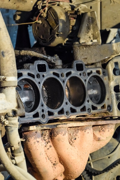 Old car engine block
