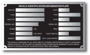 Trailer Weight Spec Plate