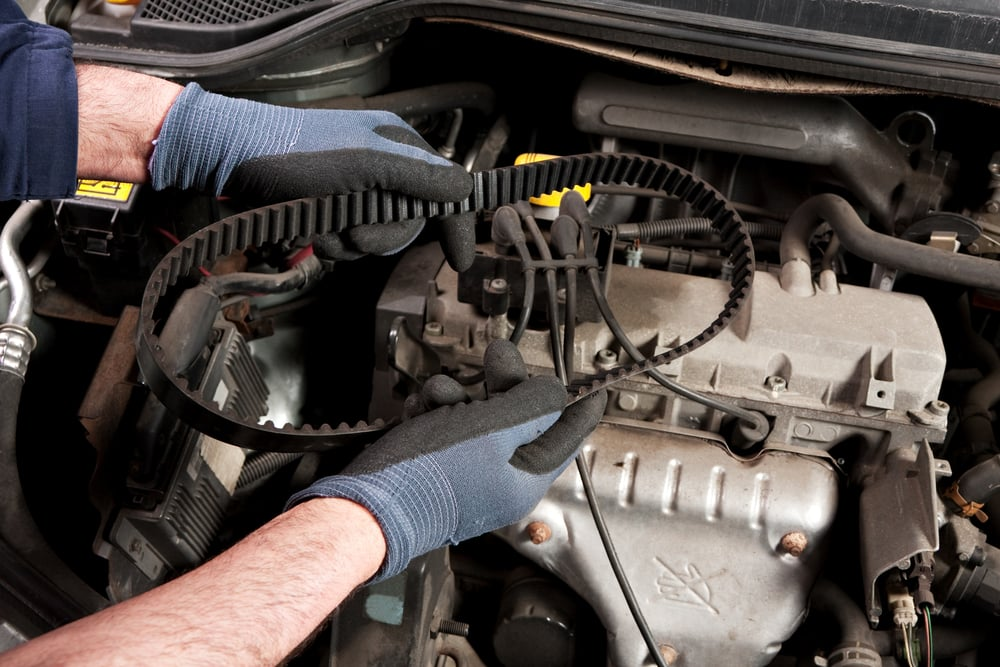 mechanic holding a timing belt