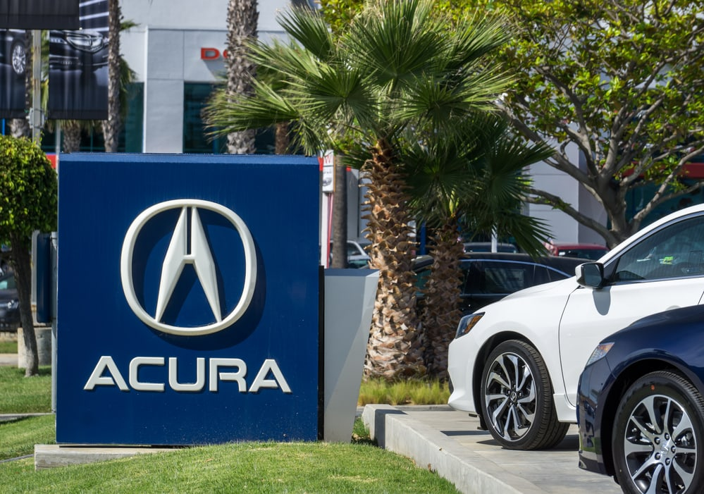 Acura Automobile Dealership Sign and Logo